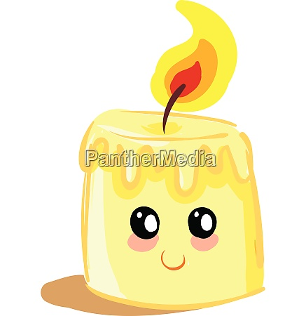 small melted glowing candle vector or