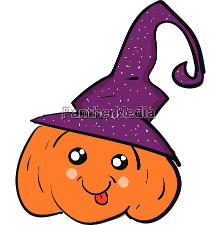 a pumpkin wearing a witch hat