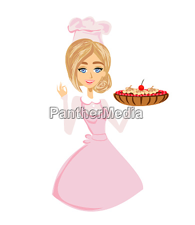 beautiful lady confectioner serves chocolate cake