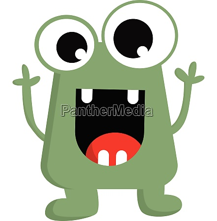 the happy green little monster vector