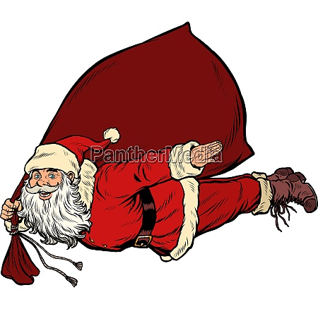 santa claus superhero is flying with