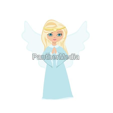 sweet little girl angel praying isolated