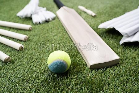 cricket bat and ball on turf