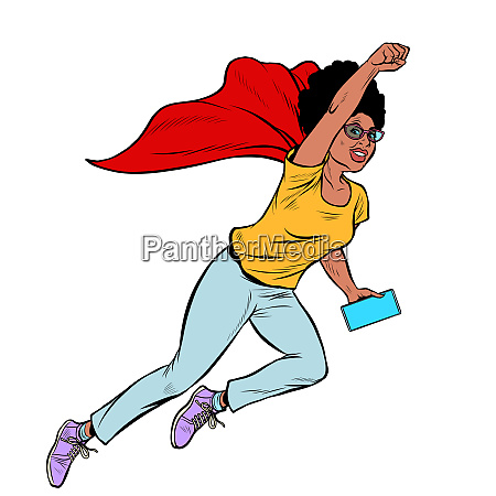 african superhero flying active strong woman