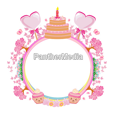 cute happy birthday card girlish frame
