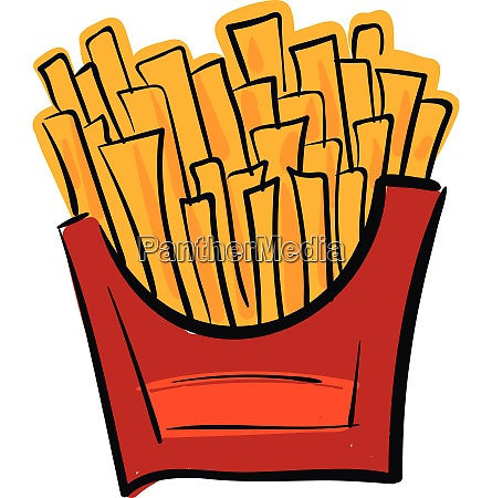 french potato fries in a red