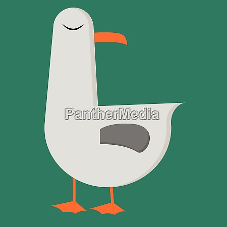 a cartoon seagull over green background