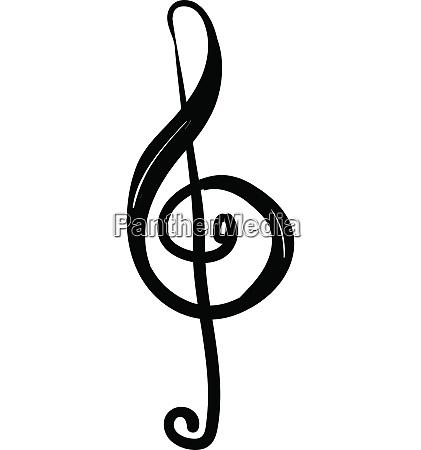 treble clef in black ink vector