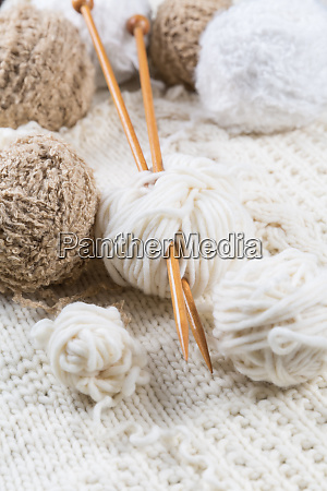 wool for knitting with knitting needles