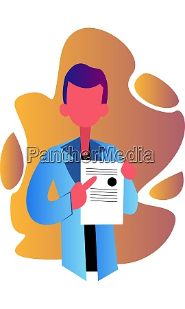 male doctor showing medical diploma vector