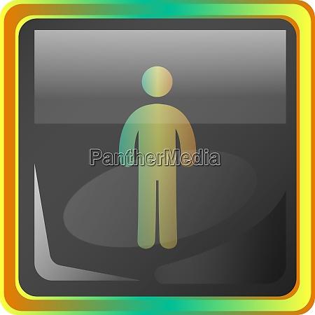 standing man grey vector icon illustration