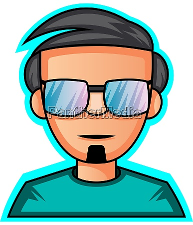 gamer with glasses gaming logo illustration