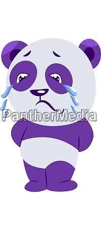 sad purple and white panda crying
