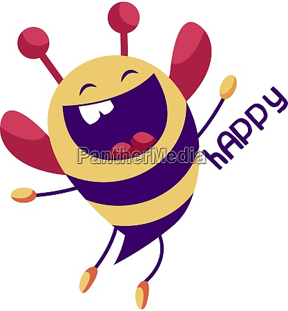 cheerful yellow and purple bee vector