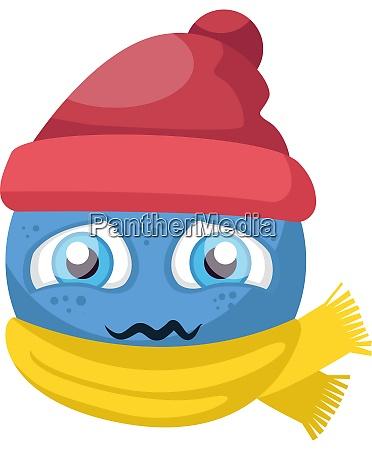 blue sick emoji with red hat