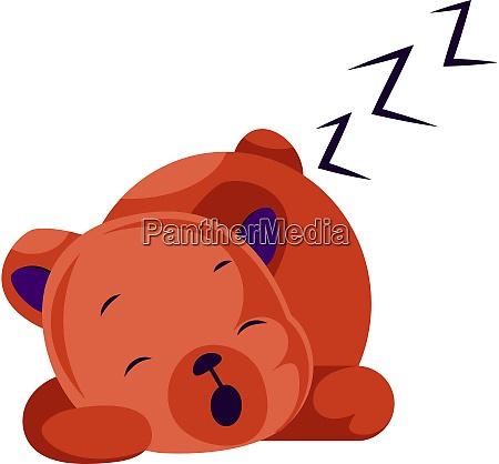 sleeping red teddy bear vector illustration