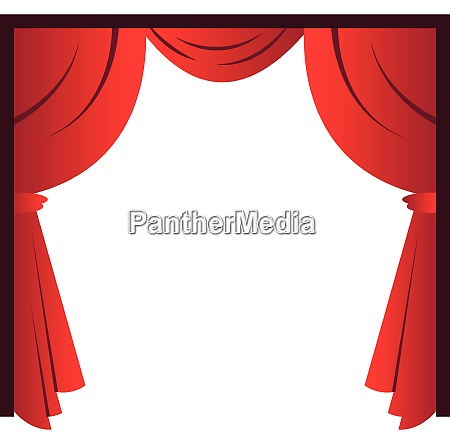 red curtains simple vector illustration on