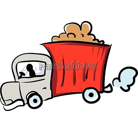 red truck illustration vector on white