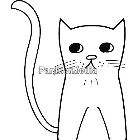 sad kitty illustration vector on white