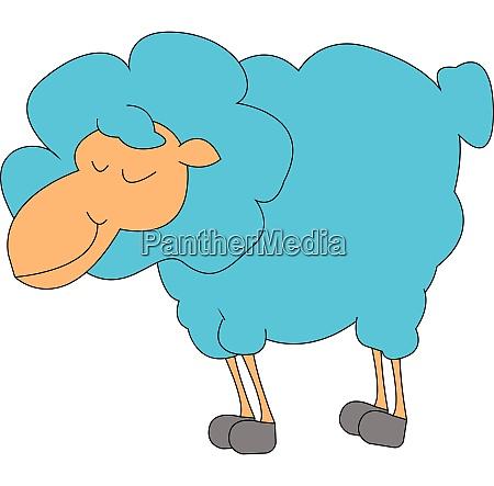 sleeping blue lamb vector or color
