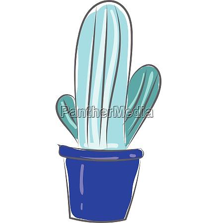cactus brooch in blue pot vector
