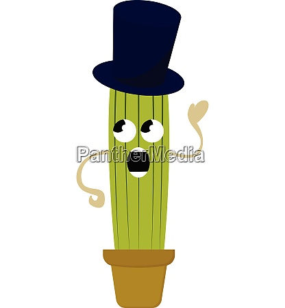 cactus with hat vector or color