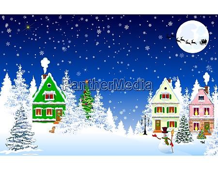 house village snow night scene christmas