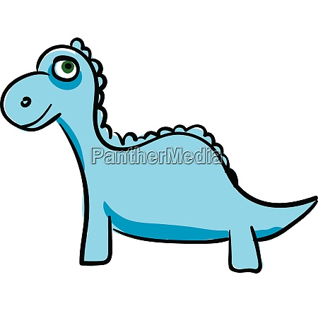 blue dinosaur vector or color illustration