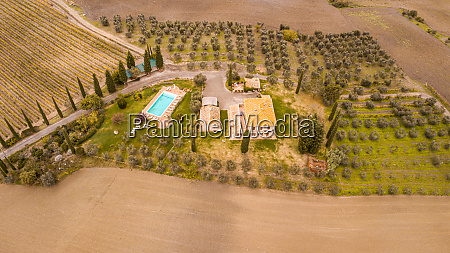 toscana country farm houses and cypress