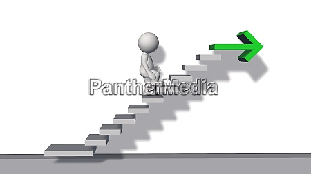 stair steps with 3d figure and