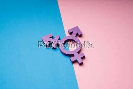 transsexual symbol over dual backdrop