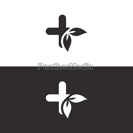 pharmacy cross with leaves isolated image