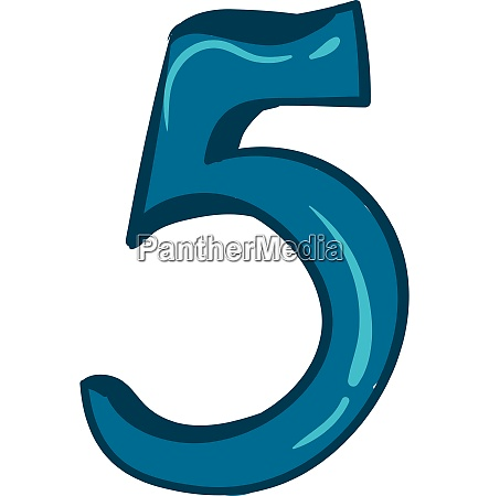 clipart number 5 in blue color
