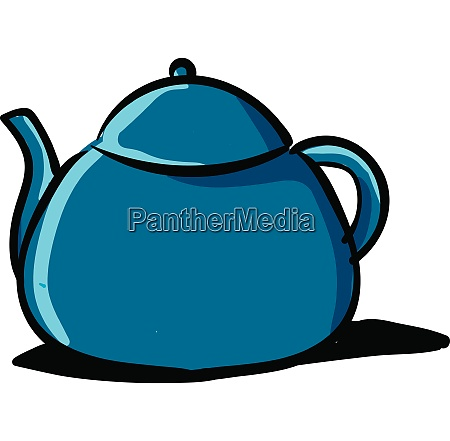 clipart of a blue colored teapot
