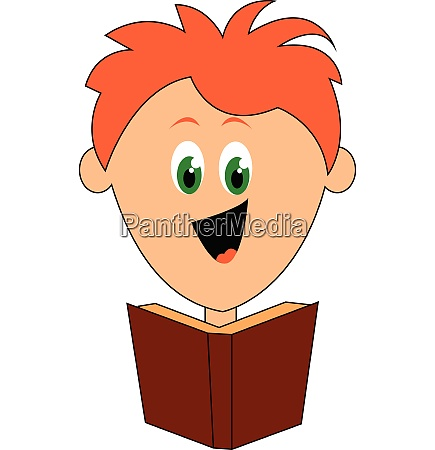 cartoon boy laughing while reading a