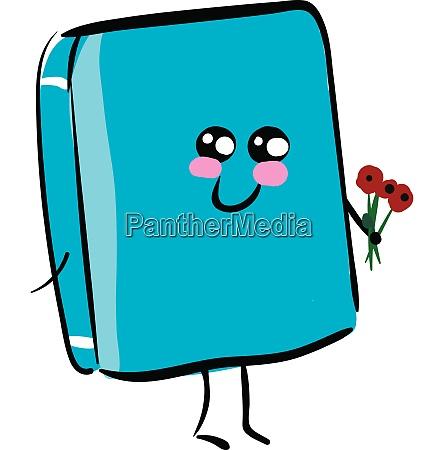 emoji of a happy blue book