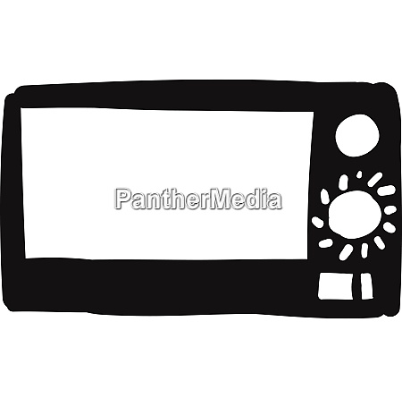 drawing of a black colored microwave