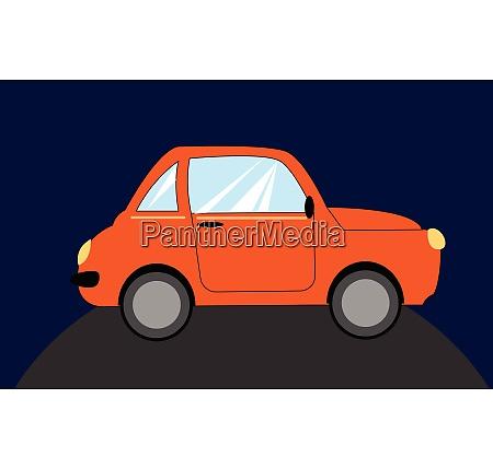 portrait of an orange car over