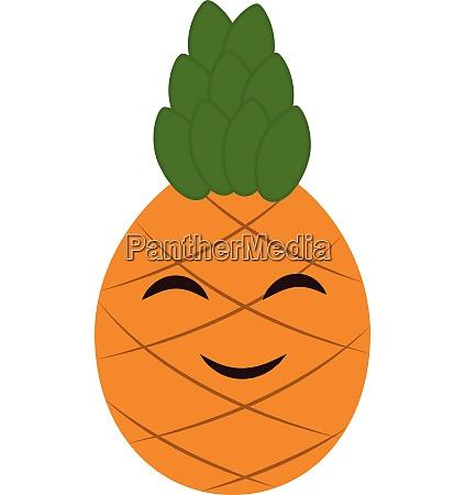 emoji cartoon smiling pineapple vector or