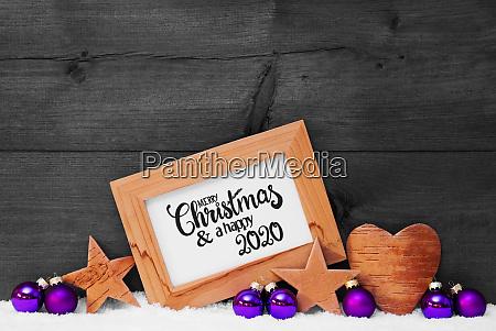 frame purple ball snow merry christmas