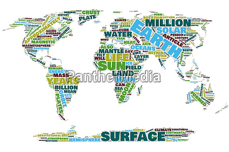 earth map colors word cloud