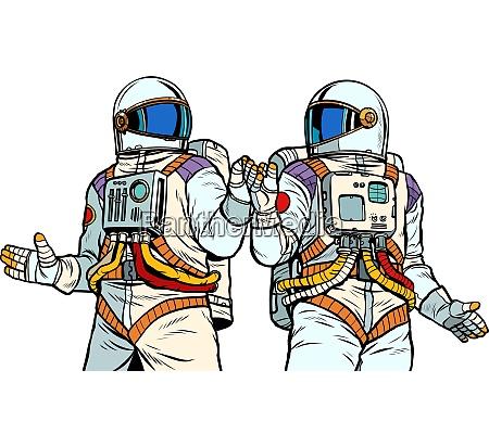 two astronaut friends