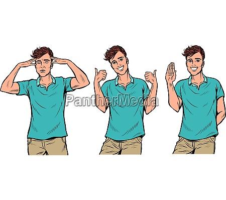 young man gestures set