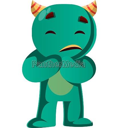 green monster is afraid vector illustration