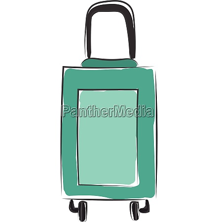 green suitcase vector or color illustration
