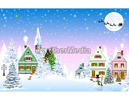 snowy christmas night houses scene