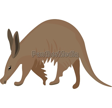 painting of the brown aardvark isolated