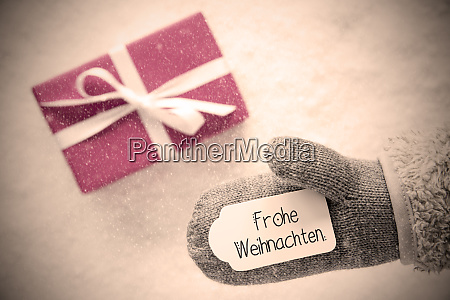 gray glove pink gift label snowflakes
