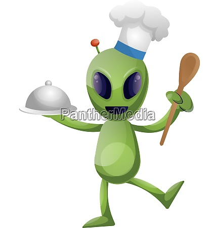 alien chef illustration vector on white