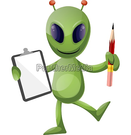 alien with pencil and notebook illustration